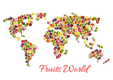Exotic tropical fruits vector world map Royalty Free Stock Photo