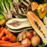 Exotic tropical fruits and vegetables at asian food market Stock Images