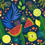 Exotic tropical garden. Seamless botanical pattern with flowers, fruits and different plants inspired by 1950s-1960s design. Retro textile collection royalty free illustration