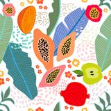 Exotic tropical garden. Seamless botanical pattern with flowers, fruits and different plants inspired by 1950s-1960s design. Retro textile collection vector illustration