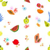Exotic tropical garden with small elements. Seamless botanical pattern with flowers, fruits and different plants inspired by 1950s-1960s design. Retro textile royalty free illustration