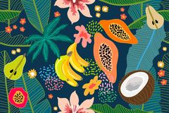 Exotic tropical garden. Wide print. Seamless botanical pattern with flowers, fruits and different plants inspired by 1950s-1960s design. Retro textile vector illustration