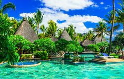 Exotic tropical holidays. Luxury spa with swim pool in Mauritius Stock Photo