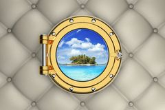 Exotic tropical island from the porthole. View of the exotic tropical island from the porthole of luxurious yacht 3D illustration Stock Photos