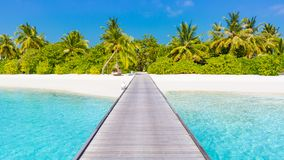 Maldives island beach background. Vacation and holiday with palm trees and tropical island beach Royalty Free Stock Images