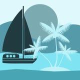 Exotic tropical landscape vector illustration