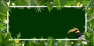 Tropical leaves wiht bird backgrounds vectors. Exotic tropical leaf background for invitation greeting template of Summer. Bright tropical background with jungle Royalty Free Stock Images