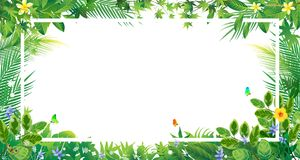 Exotic tropical leaf and frower border background in greeting te. Exotic tropical leaf and frower border background for invitation greeting template of Summer Stock Photo