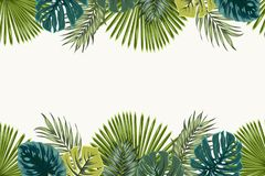 Exotic tropical leaves top bottom border frame. Exotic tropical jungle rainforest bright green navy turquoise palm tree and monstera leaves border frame template Stock Photos