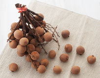Exotic tropical longan fruit top view Royalty Free Stock Photos