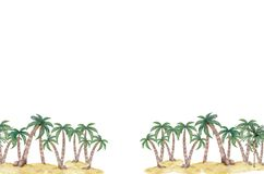 Free Exotic Tropical Palm Tree. Frame Border Background. Summer Illustration. Watercolor Style Royalty Free Stock Images - 189507049
