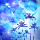 Exotic tropical palm trees  with fantasy sunset background . Hig Royalty Free Stock Photo