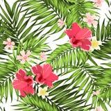 Exotic tropical pattern hibiscus plumeria leaves stock illustration