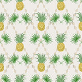 Exotic tropical seamless pattern with palm branches and pineappl Royalty Free Stock Photo