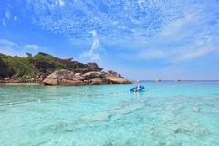 Exotic tropical Similan Islands. Moored in the bay inflatable boat. Exotic tropical Similan Islands. Clear azure ocean water Royalty Free Stock Photos