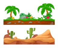 Exotic tropical surface with palm trees and vegetation. Colorful seamless game landscape, terrain gaming interface. Landscape for 2D games. Exotic tropical stock illustration