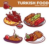 Exotic Turkish food vector collection with dishes on plates Royalty Free Stock Image