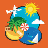 Exotic Vacation on Distant Tropical Island Stock Images