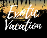 Exotic vacation, tropical sunset on the sea shore. Vector illustration of tropical sunset on the sea shore with Exotic Vacation inscription in handwritten style Stock Image