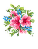 Exotic Vintage Card with Pink Tropical Flowers Royalty Free Stock Photo
