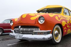 Exotic vintage classic motorcar on display on a rainy day Royalty Free Stock Photos