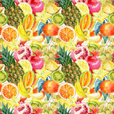 Exotic Watercolor Fruit Mix Seamless Pattern Stock Images