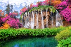 Waterfall landscape of Plitvice Lakes Croatia. Exotic waterfall and lake landscape of Plitvice Lakes National Park, UNESCO natural world heritage and famous stock photos