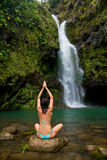 Exotic waterfall woman Stock Images