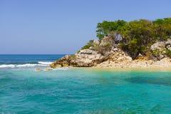 Exotic wild tropical beach, Labadee Island, Haiti. stock photography