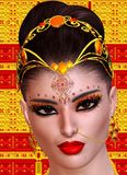 Exotic woman's face close up, Indian, Asian or Middle Eastern beauty concept. Royalty Free Stock Photography