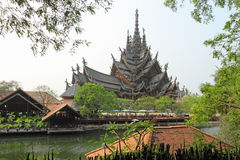 The exotic wooden temple in Thailand Stock Photography