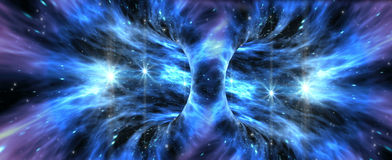 Exotic wormhole formation. Deep space background with exotic wormhole system for alien fantasy games or science fiction illustrations of interstellar travel Stock Photography
