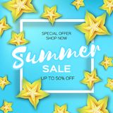 Exotic Yellow Carambola star fruit Summer Sale Banner in paper cut style. Origami juicy ripe starfruit slices. Healthy. Food on blue. Summertime. Square frame Stock Photo