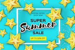 Exotic Yellow Carambola star fruit Summer Sale Banner in paper cut style. Origami juicy ripe starfruit slices. Healthy. Food on blue. Summertime. Square frame Royalty Free Stock Image