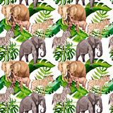 Exotic zebra and elephant wild animals pattern in a watercolor style. Stock Photography