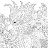 Exotic zentangle cockatoo parrot for adult anti stress coloring. Pages, book, bird head with tropical flowers, plants for art therapy, greeting card. Hand drawn royalty free illustration