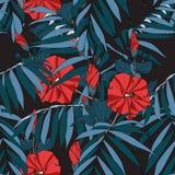 Exotisch blauw tropisch de bladerenpatroon van de waterverfstijl vector illustratie