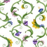 Naadloze natuurlijke overladen bloemenpatroonachtergrond Stock Fotografie