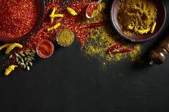 Exotisch Gewürz-Mischung - Gewürz, Kräuter, pulverisieren Draufsicht über dunklem Hintergrund Kochen und würziges Lebensmittelkon lizenzfreie stockfotografie
