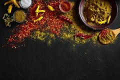 Exotisch Gewürz-Mischung - Gewürz, Kräuter, pulverisieren Draufsicht über dunklem Hintergrund Kochen und würziges Lebensmittelkon stockbild