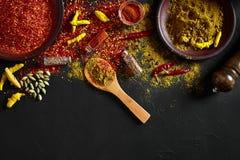 Exotisch Gewürz-Mischung - Gewürz, Kräuter, pulverisieren Draufsicht über dunklem Hintergrund Kochen und würziges Lebensmittelkon lizenzfreie stockbilder
