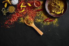 Exotisch Gewürz-Mischung - Gewürz, Kräuter, pulverisieren Draufsicht über dunklem Hintergrund Kochen und würziges Lebensmittelkon lizenzfreie stockfotos