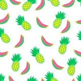 Exotisch, saftig, fruchtig, nahtlos, Karikatur, Vektormuster stock abbildung