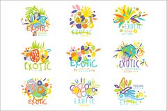 Exotisch, Sommerreisesatz Logographikschablonen lizenzfreie abbildung