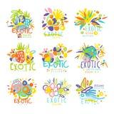 Exotisch, Sommerreisesatz Logographikschablonen stock abbildung