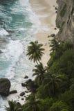 Exotisch strand met wit zand, palmen, rots en duidelijk blauw water Royalty-vrije Stock Foto