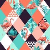 Exotisch strand in naadloos patroon, lapwerk geïllustreerde bloemen tropische banaanbladeren Stock Afbeelding