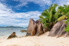 Exotisch strand op Seychellen royalty-vrije stock foto's