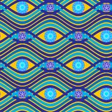 Exotisch vector naadloos patroon met golven, cirkels en bloemen Stock Fotografie