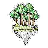 Exotische Bäume und Büsche des Gekritzels im Floss idland stock abbildung